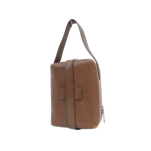 Valextra Trick Track Handbag Leather Brown Second Pouch Used [20190308]