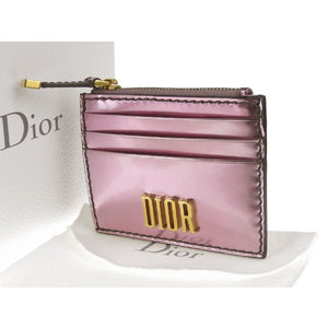 Christian Dior logo card case coin patent metallic pink pass second-hand [20190222]