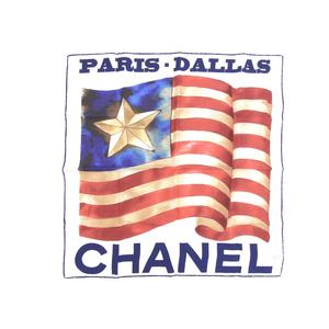 CHANEL Chanel PARIS DALLAS Paris Dallas Oversized scarf shawl American flag white used [20190308]
