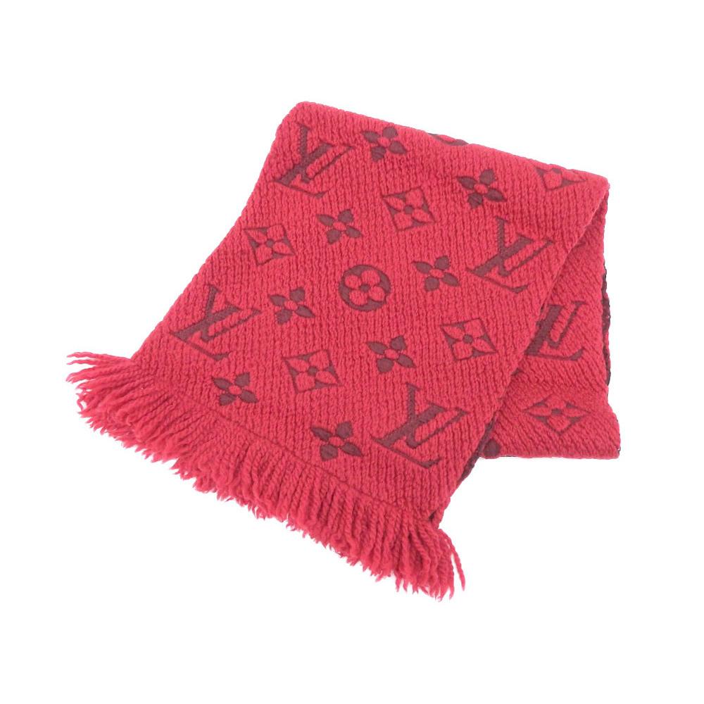 LOUIS VUITTON Louis Vuitton Eschal Progomania Scarf Monogram Red Ruby M72432 used [20190308]