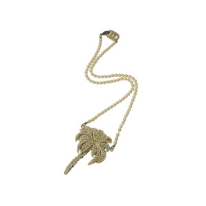 CHANEL Chanel Palm Tree Motif Necklace Faux Pearl Coco Mark Gold [20190220]