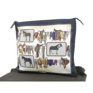 GUCCI Gucci horse print second bag clutch nylon canvas 紺 navy white 388917 used [20190308]