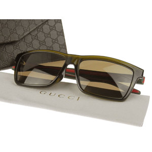 GUCCI Gucci Shelly Line Sunglasses Eyewear Brown Web Rubber 57 □ 14 145 GG1016 / F S 53 US Used [20190222]