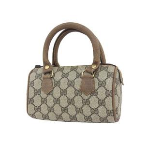GUCCI Gucci GG Handbag Vintage PVC Leather Brown Pouch Mini Boston Used [20190313]