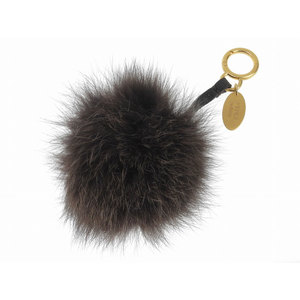FENDI Fendi Pom pom bag charm seleria fur brown Brown key holder used [20190222]