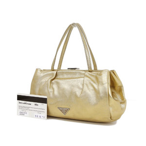 PRADA Prada gas bag handbag leather gold metallic party used [20190305]