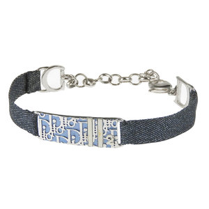 Christian Dior Trotter Bracelet Canvas Blue Silver Used [20190222]