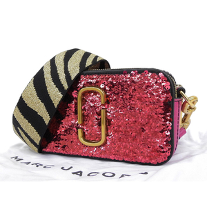 MARC JACOBS Marc Jacobs Snapshot Shoulder Bag Sequin Leather Pink Pochette [20190308]