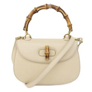 GUCCI Gucci Bamboo 2WAY Shoulder Bag Handbag Ivory