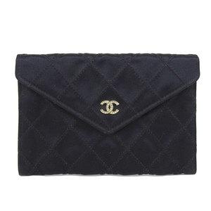 CHANEL silk satin envelope wallet black gold 1st stand