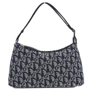 CHRISTIAN DIOR Christian Dior Trotter Jacquard Denim Shoulder Bag Black