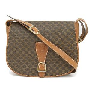 CELINE Macadam Pattern PVC Shoulder Bag Brown Gold Hardware