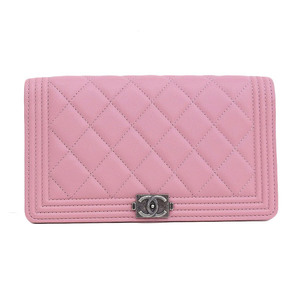 CHANEL Chanel Boy Leather Flap Wallet Long Bi-Fold Pink A80285 21st