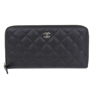 CHANEL CHAVIA Skin round zipper Long wallet Matras black silver 25 series