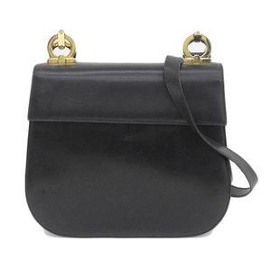Salvatore Ferragamo FERRAGAMO Ferragamo Salvatore Gancini Leather Flap Shoulder Bag Black Gold Hardware O213148