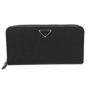 PRADA round zipper long wallet nylon black men's women's 1ML506