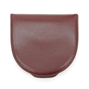 Valextra Leather Horseshoe Two Room Coin Case Bordeaux