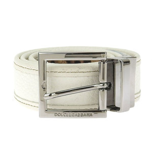 DOLCE & GABBANA Dolce Gabbana Current Tag Logo Engraved Square Buckle Rotating Reversible Leather Belt around 85cm