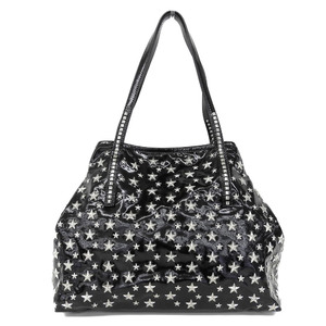 JIMMY CHOO Jimmy Choo Scarlet Patent Leather Tote Bag Shoulder Star Studs Black