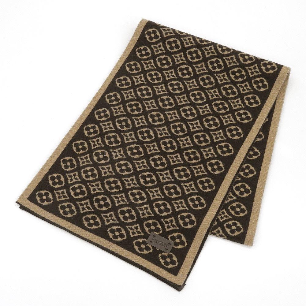 Louis Vuitton LOUIS VUITTON Leather tag Escalpski Cashmere 100% monogram pattern scarf Several times used