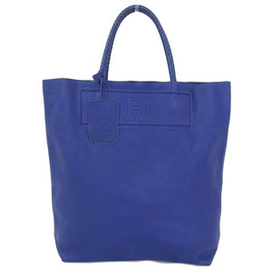 HIROFU Current Tag Shrink Leather Tote Bag Blue