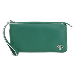 Emilio Pucci Metal Logo Handle with Leather Wallet Pouch Purse Bag Green