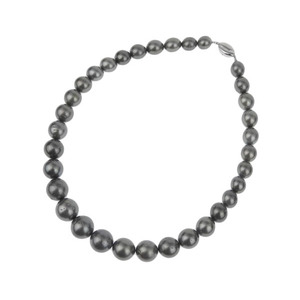 Necklace black pearl 1 to 1.5 cm clasp silver * JL