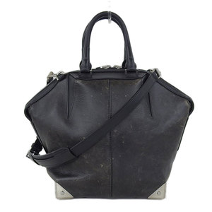 Alexander Wang Emile Leather 2way Shoulder Handbag Damaged Black × Silver Hardware