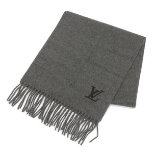 Louis Vuitton LOUIS VUITTON Cashmere 100% Muffler Gray * ETC