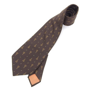 Gucci GUCCI with tag 70s dead stock cursive logo silk harness bit pattern tie brown