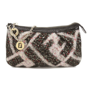 Fendi FENDI accessory pouch sequin black pink * ETC