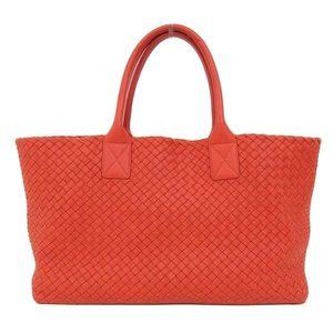 Bottega Veneta Intrecciato Hippo Calf Tote Bag Red Orange Ladies * BG