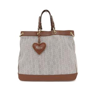 Gucci GUCCI Valentine Denim 2WAY Tote Bag Blue x Brown 282342 Women's * BG