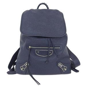 Balenciaga BALENCIAGA Classic Traveler rucksack leather navy silver hardware 407543 * BG