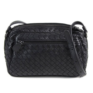 Bottega Veneta BOTTEGAVENETA Intrecherto Leather Shoulder Bag Black Diagonal Women's * BG