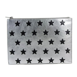 Saint Laurent SAINT LAURENT PARIS Clutch bag Star pattern calf leather silver × black * BG