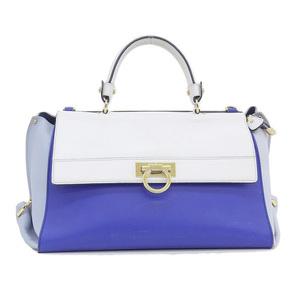 Salvatore Ferragamo Ferragamo FERRAGAMO Gancini 2WAY hand shoulder bag white blue light * BG