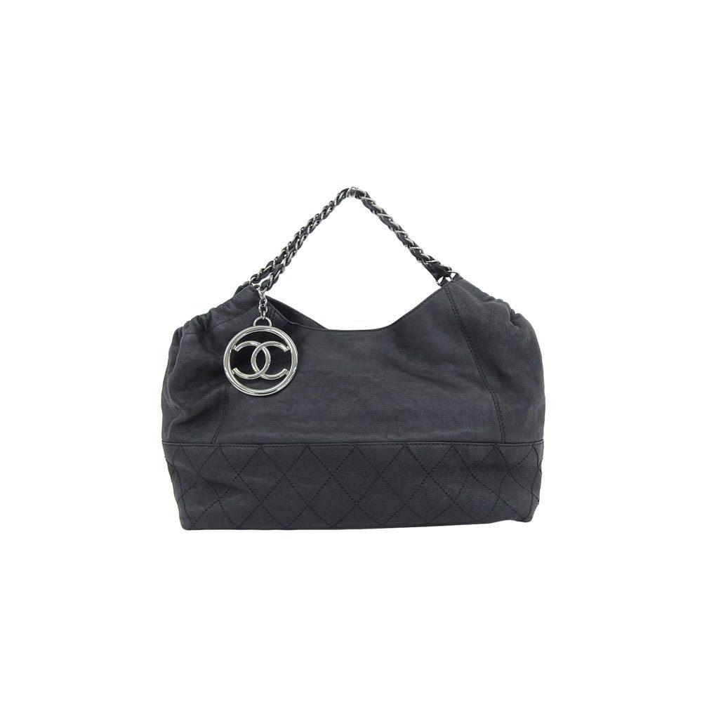 66105f9e3f4 CHANEL leather chain tote bag black silver hardware 11 series * BG |  elady.com