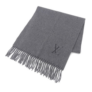 Louis Vuitton LOUIS VUITTON Cashmere 100% Scarf Gray * ETC