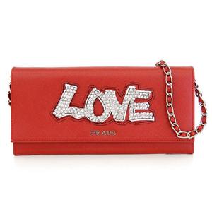 Prada PRADA Safiano LOVE chain wallet long rhinestone red 1M1290 * WL