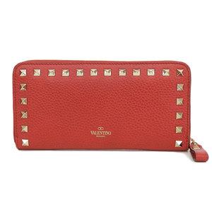 Valentino VALENTINO Lock studs Round zip wallet Leather red * WL