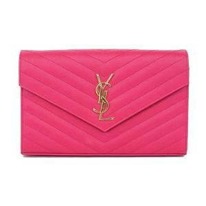 Saint Laurent ・ Paris SAINT LAURENT PARIS chain wallet shocking pink * WL