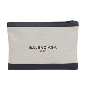 Balenciaga BALENCIAGA Navy Clip Clutch Bag Canvas Ivory * BG