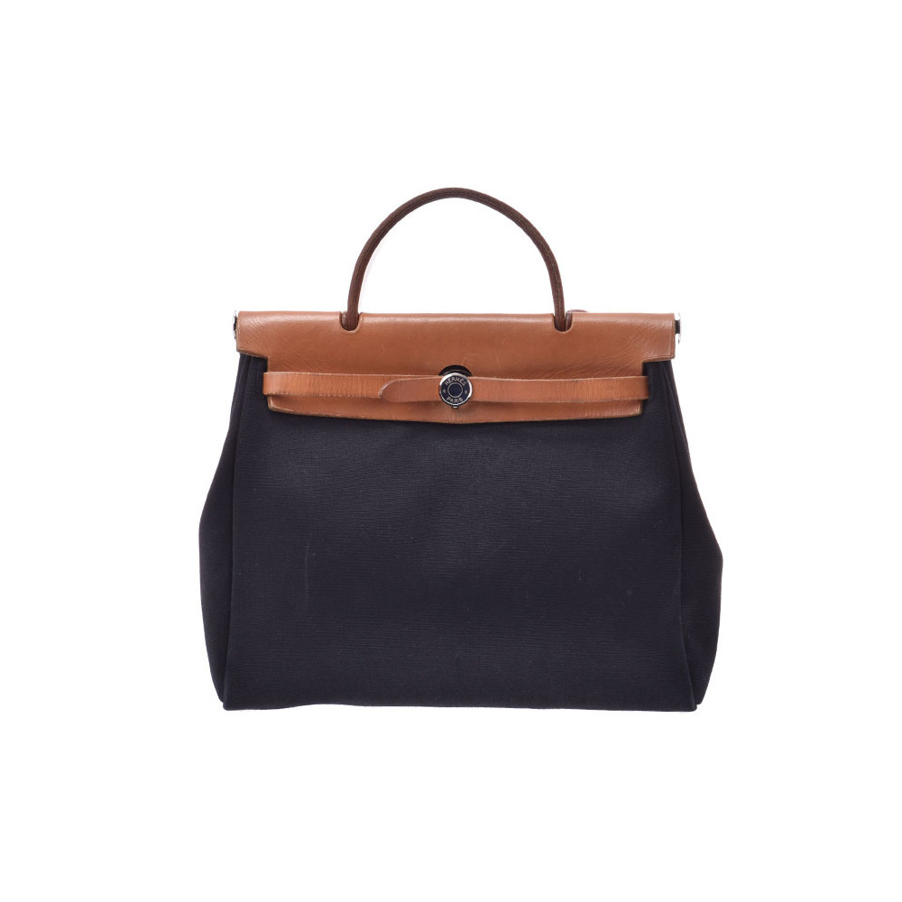 Hermes Ale bag PM Black SV bracket □ D stamped Women's canvas / leather 2WAY B rank HERMES used Ginzo