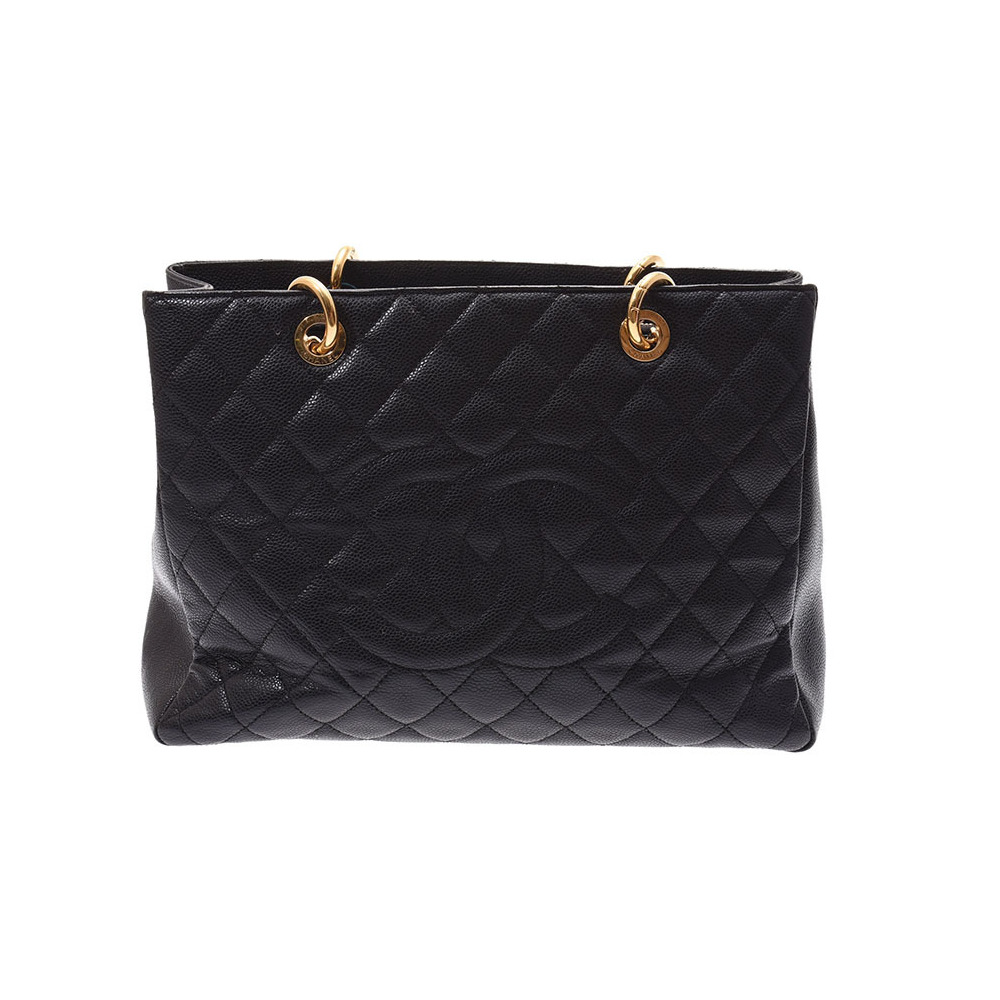 Chanel Matrasse GST tote bag Black G hardware Women's caviar skin B rank CHANEL Used Ginzo