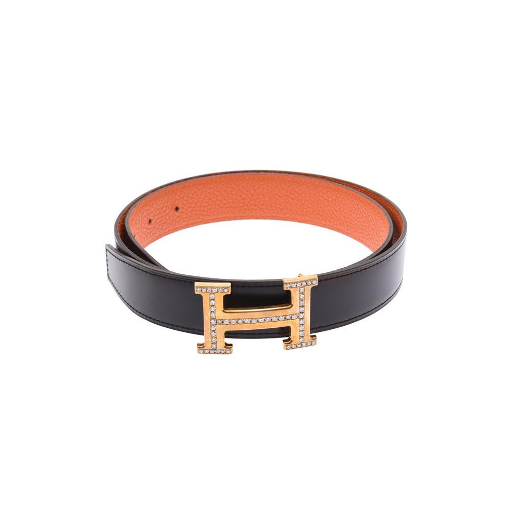 Hermes H Belt 85cm Black / Orange GP Buckle After Diamond T Engraved Men's Leather AB Rank HERMES Box Used Ginzo