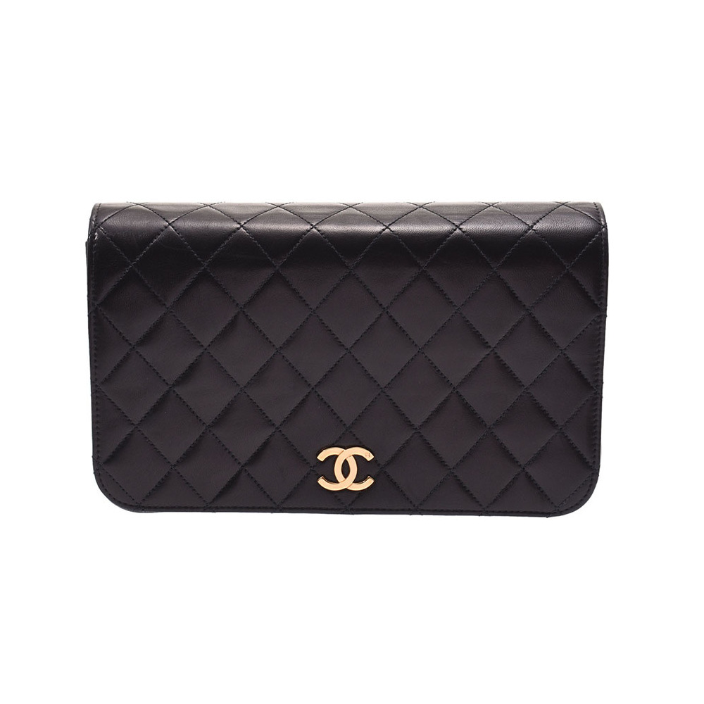 Chanel Matrasse Chain Shoulder Bag Push Lock Black G Bracket Women's Lambskin AB Rank CHANEL Galla Used Ginzo