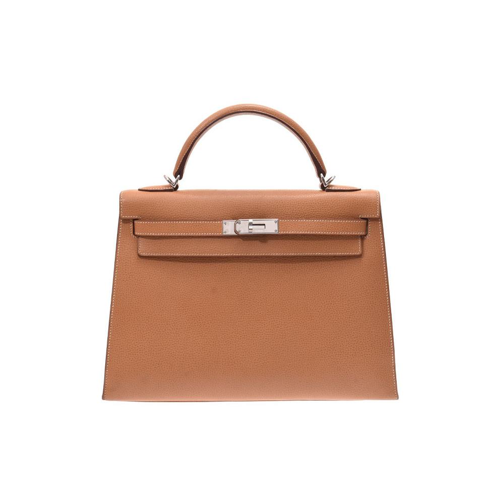 HERMES Kelly 32 Outer sewing Natural SV metal fittings □ J engraved Ladies Vash Liège 2WAY bag AB rank Used Ginzo
