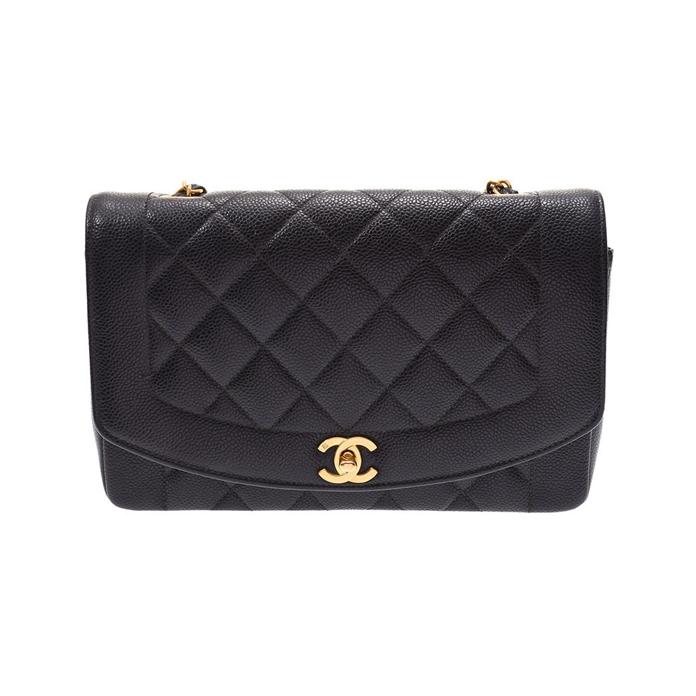 Chanel Matrasse Chain Shoulder Bag Diana Black GP Hardware Ladies Caviar Skin AB Rank CHANEL Galla Used Ginzo