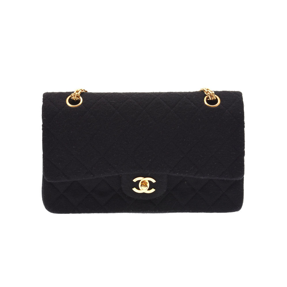 Chanel Matrasse Chain Shoulder Bag Black G hardware Women's Jersey A rank beauty item CHANEL